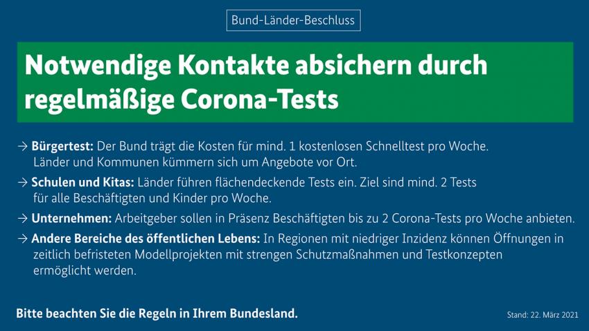 Notwendige Kontakte absichern durch regelmäßige Corona-Tests